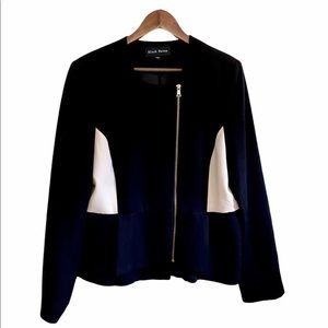 Black Rainn Cream & Black Zipper Front Moto Blazer
